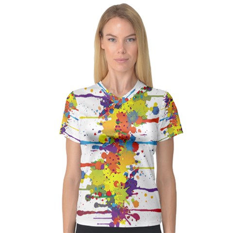 Crazy Multicolored Double Running Splashes Women s V-neck Sport Mesh Tee by EDDArt