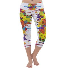 Crazy Multicolored Double Running Splashes Capri Yoga Leggings