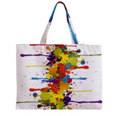 Crazy Multicolored Double Running Splashes Medium Zipper Tote Bag by EDDArt
