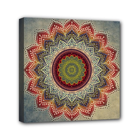 Folk Art Lotus Mandala Dirty Blue Red Mini Canvas 6  X 6  by EDDArt