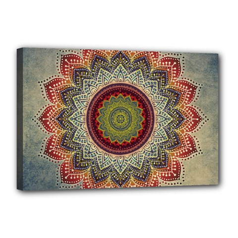 Folk Art Lotus Mandala Dirty Blue Red Canvas 18  X 12