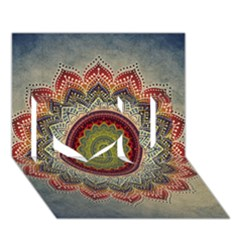 Folk Art Lotus Mandala Dirty Blue Red I Love You 3d Greeting Card (7x5) by EDDArt