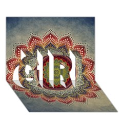 Folk Art Lotus Mandala Dirty Blue Red Girl 3d Greeting Card (7x5) by EDDArt