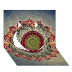 Folk Art Lotus Mandala Dirty Blue Red Heart 3d Greeting Card (7x5) by EDDArt