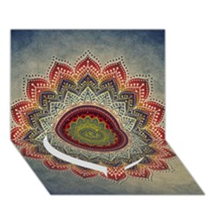 Folk Art Lotus Mandala Dirty Blue Red Heart Bottom 3d Greeting Card (7x5) by EDDArt