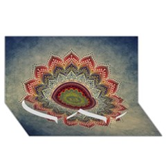 Folk Art Lotus Mandala Dirty Blue Red Twin Heart Bottom 3d Greeting Card (8x4)