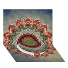 Folk Art Lotus Mandala Dirty Blue Red Circle Bottom 3d Greeting Card (7x5) by EDDArt