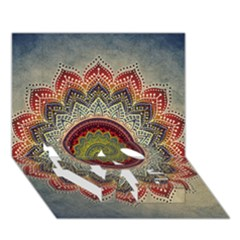 Folk Art Lotus Mandala Dirty Blue Red Love Bottom 3d Greeting Card (7x5) by EDDArt