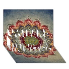 Folk Art Lotus Mandala Dirty Blue Red You Are Invited 3d Greeting Card (7x5) by EDDArt
