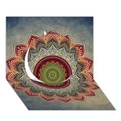Folk Art Lotus Mandala Dirty Blue Red Circle 3d Greeting Card (7x5) by EDDArt