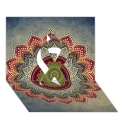 Folk Art Lotus Mandala Dirty Blue Red Ribbon 3d Greeting Card (7x5) by EDDArt
