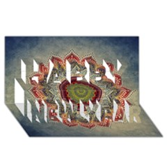 Folk Art Lotus Mandala Dirty Blue Red Happy New Year 3d Greeting Card (8x4) by EDDArt