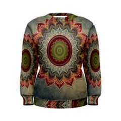 Folk Art Lotus Mandala Dirty Blue Red Women s Sweatshirt by EDDArt