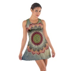 Folk Art Lotus Mandala Dirty Blue Red Cotton Racerback Dress by EDDArt