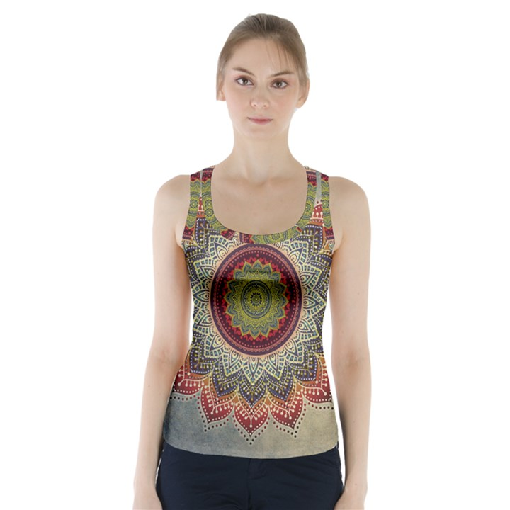 Folk Art Lotus Mandala Dirty Blue Red Racer Back Sports Top