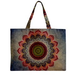 Folk Art Lotus Mandala Dirty Blue Red Medium Tote Bag by EDDArt