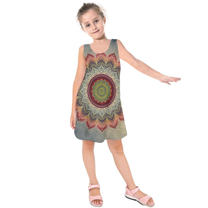 Folk Art Lotus Mandala Dirty Blue Red Kids  Sleeveless Dress
