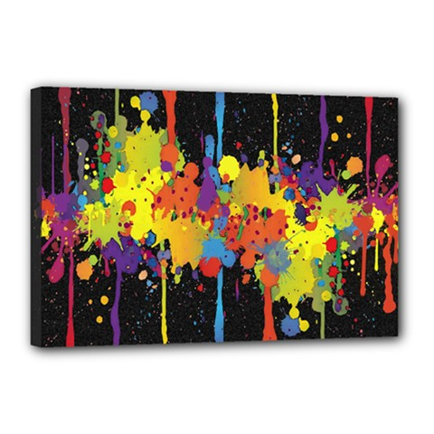 Crazy Multicolored Double Running Splashes Horizon Canvas 18  X 12  by EDDArt