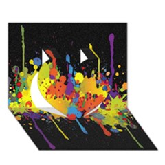 Crazy Multicolored Double Running Splashes Horizon Heart 3d Greeting Card (7x5) by EDDArt