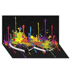 Crazy Multicolored Double Running Splashes Horizon Twin Heart Bottom 3d Greeting Card (8x4) by EDDArt