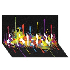 Crazy Multicolored Double Running Splashes Horizon Sorry 3d Greeting Card (8x4) by EDDArt