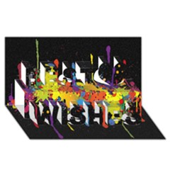 Crazy Multicolored Double Running Splashes Horizon Best Wish 3d Greeting Card (8x4) by EDDArt
