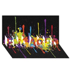 Crazy Multicolored Double Running Splashes Horizon Engaged 3d Greeting Card (8x4) by EDDArt
