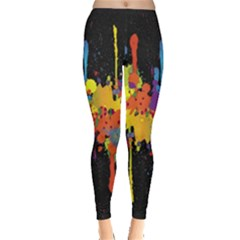 Crazy Multicolored Double Running Splashes Horizon Leggings  by EDDArt