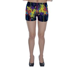 Crazy Multicolored Double Running Splashes Horizon Skinny Shorts by EDDArt