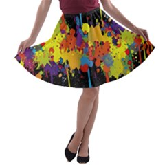 Crazy Multicolored Double Running Splashes Horizon A Line Skater Skirt
