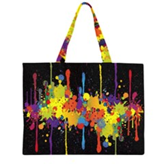 Crazy Multicolored Double Running Splashes Horizon Zipper Large Tote Bag