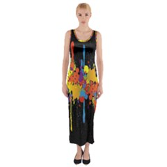 Crazy Multicolored Double Running Splashes Horizon Fitted Maxi Dress by EDDArt