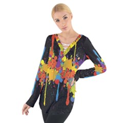 Crazy Multicolored Double Running Splashes Horizon Women s Tie Up Tee by EDDArt
