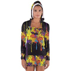 Crazy Multicolored Double Running Splashes Horizon Women s Long Sleeve Hooded T-shirt by EDDArt