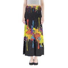Crazy Multicolored Double Running Splashes Horizon Maxi Skirts