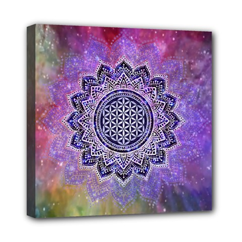 Flower Of Life Indian Ornaments Mandala Universe Mini Canvas 8  X 8  by EDDArt