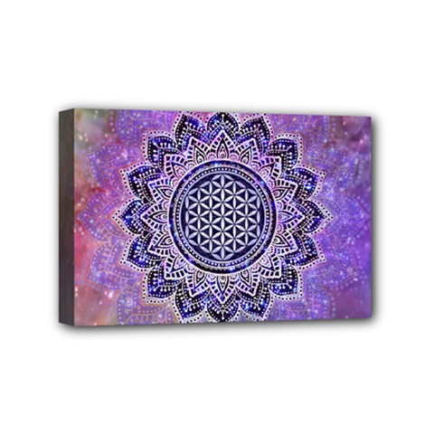 Flower Of Life Indian Ornaments Mandala Universe Mini Canvas 6  X 4  by EDDArt