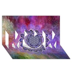 Flower Of Life Indian Ornaments Mandala Universe Mom 3d Greeting Card (8x4) by EDDArt