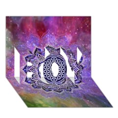 Flower Of Life Indian Ornaments Mandala Universe Boy 3d Greeting Card (7x5) by EDDArt