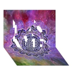 Flower Of Life Indian Ornaments Mandala Universe Love 3d Greeting Card (7x5) by EDDArt