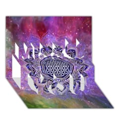 Flower Of Life Indian Ornaments Mandala Universe Miss You 3d Greeting Card (7x5) by EDDArt