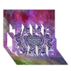 Flower Of Life Indian Ornaments Mandala Universe Take Care 3d Greeting Card (7x5) by EDDArt