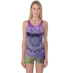 Flower Of Life Indian Ornaments Mandala Universe One Piece Boyleg Swimsuit by EDDArt