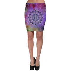 Flower Of Life Indian Ornaments Mandala Universe Bodycon Skirt by EDDArt