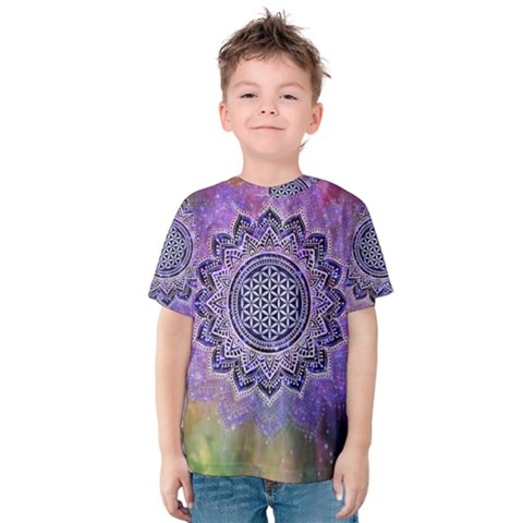 Flower Of Life Indian Ornaments Mandala Universe Kids  Cotton Tee by EDDArt