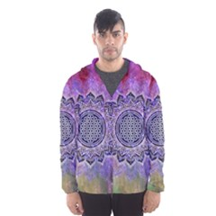 Flower Of Life Indian Ornaments Mandala Universe Hooded Wind Breaker (men)