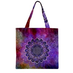 Flower Of Life Indian Ornaments Mandala Universe Zipper Grocery Tote Bag