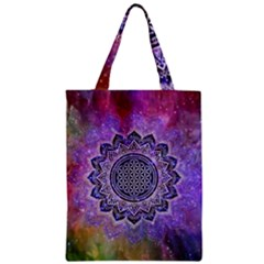 Flower Of Life Indian Ornaments Mandala Universe Zipper Classic Tote Bag by EDDArt