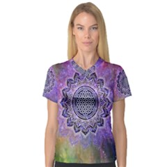 Flower Of Life Indian Ornaments Mandala Universe Women s V Neck Sport Mesh Tee by EDDArt