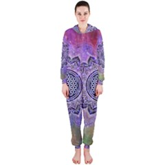 Flower Of Life Indian Ornaments Mandala Universe Hooded Jumpsuit (ladies)